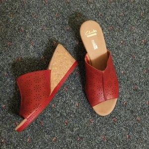 Clarks Collection Red Open Toe Slip On Wedge